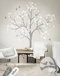 Decals For Walls Nursery Tree Decal With Bird And Leaves White Tree Wall Decals Nursery
