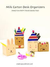 milk carton craft for kids fun animal desk organizers creative