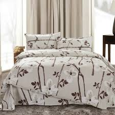 Japanese Comforters 4pcs Twin Full Size White Orchid Flowers Brown Floral Grey Bedding
