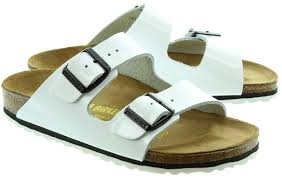birkenstock arizona leather 2 bar buckle mule sandals in white