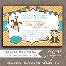 monkey invitations baby shower monkey baby shower invitations chevron teal orange brown