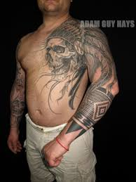 grey ink indian chief skull on left chest and sleeve