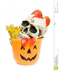 halloween baskets halloween scary skull and pumpkin basket royalty free stock images