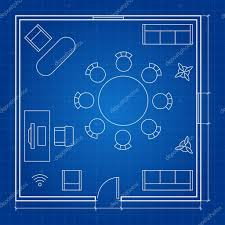 Floor Plan Icons by Office Floor Plan With Linear Vector Symbols Conference Business
