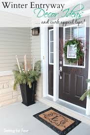 Tips For Curb Appeal - winter entryway decor and curb appeal ideas setting for four
