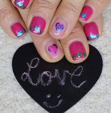 love and hearts foil nail art design short nails beginners