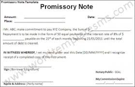 promissory note template word excel formats