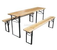 Outdoor Wooden Garden Furniture Wooden Folding Beer Table Bench Set Trestle Party Pub Garden