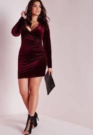 missguided plus size velvet wrap front dress burgundy dresses