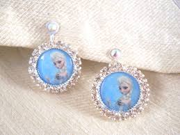 cd earrings clip on or pierced earrings frozen princess elsa earrings