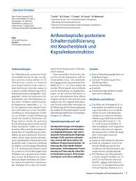 Wellmann K Hen Arthroskopische Posteriore Schulterstabilisierung Mit Knochenblock