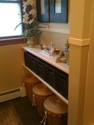 Floating Sink Shelf by Creative Bathroom Storage Ideas Completed Elegant Brown Wood