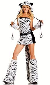 White Corset Halloween Costumes 8 Piece Siberian Tiger Faux Fur Corset Costume