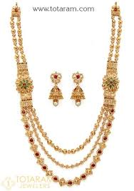 gold haram sets 22k gold necklace drop earrings set with diamonds ds506
