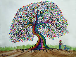 a boy his and rainbow tree dreams painting by nick gustafson