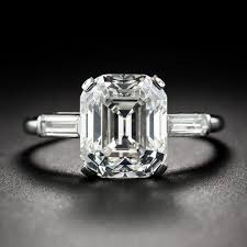 vintage emerald cut engagement rings 4 57 carat vintage emerald cut diamond ring g vs1
