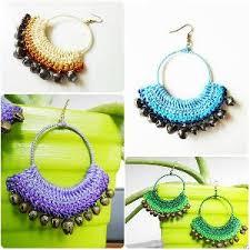 thailand earrings hoop crochet dangle earrings bells wax cord jewelry thailand