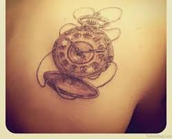 41 fanciful clock tattoos on back