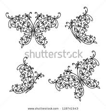 set ornamental butterflies your design stock vector 119305735