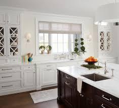 White Kitchen Cabinets With Espresso Island Transitional Kitchen