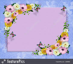 Image Of Spring Flowers by Spring Flowers Border Butterflies Illustration