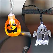 halloween ghost string lights amazon com set of 2 halloween themed battery operated string lights