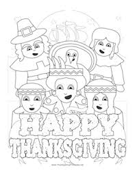 thanksgiving pilgrims indians coloring page png