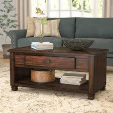 Living Room Table With Drawers Farmhouse Rustic Coffee Tables Birch