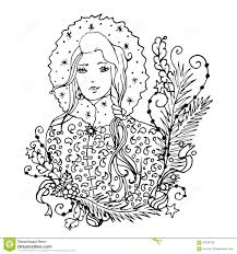 black vector mono color illustration with snow maiden lady for