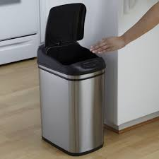 In Cabinet Trash Cans For The Kitchen Nine Stars Dzt 30 1 Touchless Stainless Steel 7 9 Gallon Trash Can