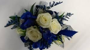 royal blue corsage royal blue white wrist corsage in le sueur mn le sueur florist