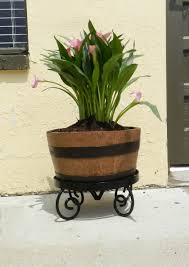5 gallon half barrel planter with wrought iron stand