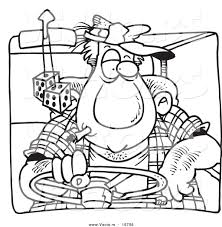 vector of a cartoon big man driving outlined coloring page by