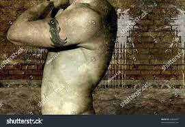 Tribal Torso - shirtless torso arm showing tribal stock photo 26060257