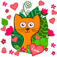 valentine day funny cartoon kitten with pink hearts and flowers