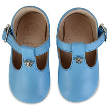 boys light blue tie young versace baby boys blue t bar shoes with silver badge