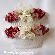 satin roses ivory ribbon flower girl hair comb