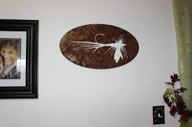 hand made fly fishing bait metal wall sign home decor by say it