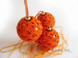 sale 3 crocheted baubles in orange colour decora flickr