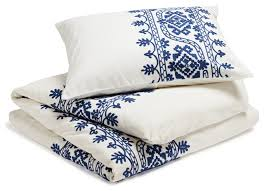 Embroidered Duvet Cover Sets Aari Embroidered Duvet Cover White With Royal Blue King