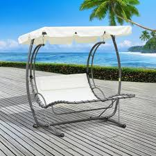outsunny 2 person double hammock outdoor garden swing bed canopy