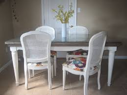 Wicker Kitchen Furniture White Wicker Chairs Having High Back Also Long Brown Wooden Table