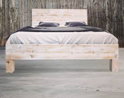 Rustic Modern Low Profile Platform Bed Frame And Headboard