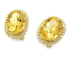 gold earrings online buy yellow gold 0 51 carats citrine diamond earrings online