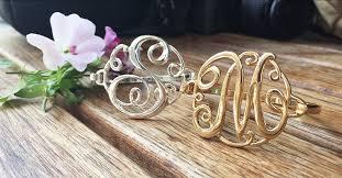 monogram initial bracelet classic monogram initial bracelets silver gold options available