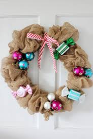 Some Christmas Decorations - add some christmas ornaments and ribbon to a simple burlap wreath