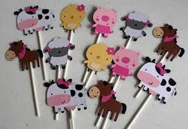 12 farm animal cupcake toppers farm decor farm baby