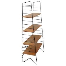 Oak Bookshelves For Sale by 1950 Solid Oak And Lacquered Metal Shelf For Sale At 1stdibs