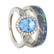 Opal Wedding Ring Sets by Gibeon Meteorite Wedding Ring Set Topaz Engagement Ring With Opal