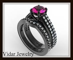 black and pink engagement rings diamond pink sapphire engagement ring wedding set pave